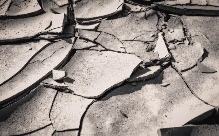 Closeup image of cracked mud