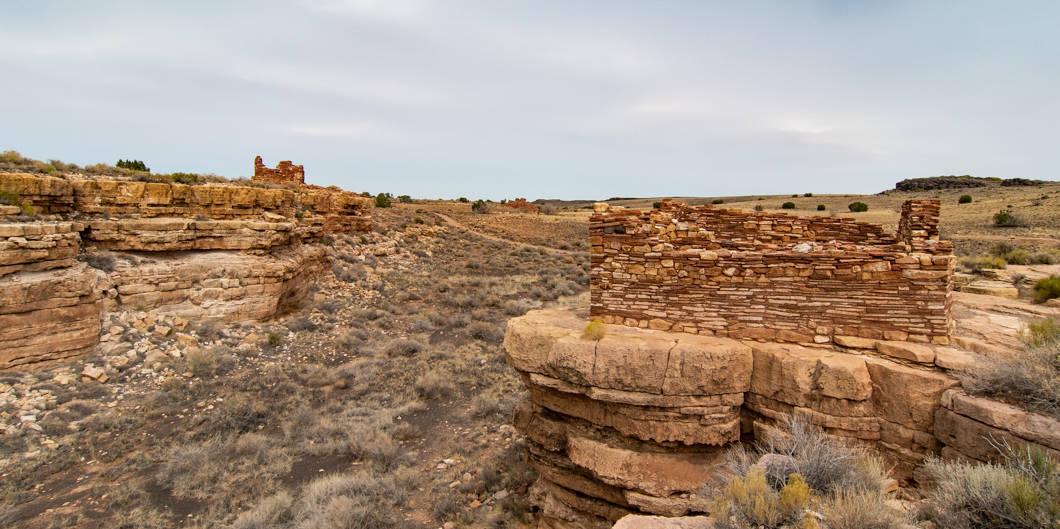 Ancient stone dwellings in Lomaki box canyon, Wupatiki