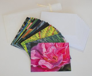 12 Note card set shown with ivory organza bag