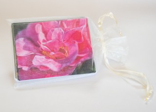 12 Note card set in ivory organza bag