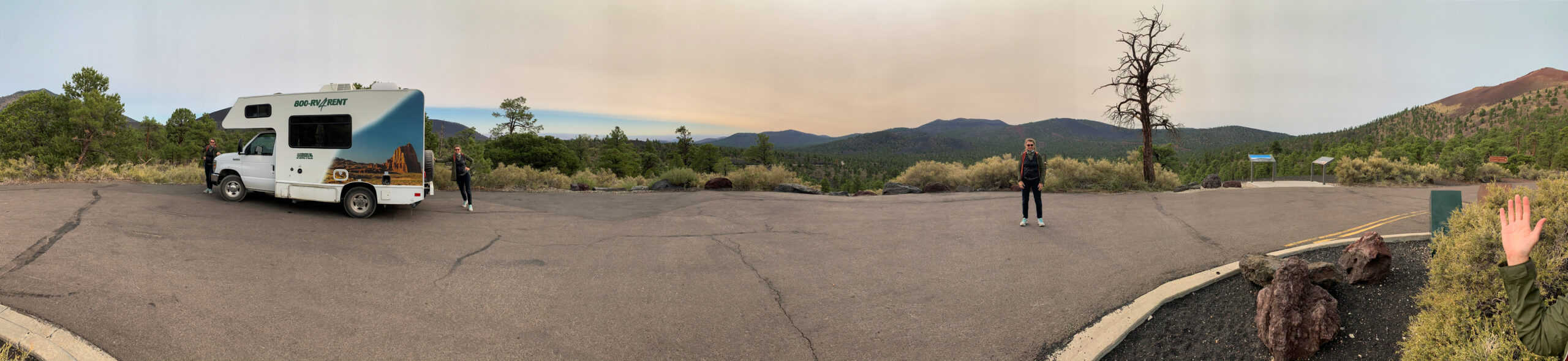Pano of RV at viewpoint with Karin in it four times