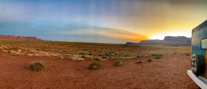 Sunset at Vermilion Cliffs next to RV camper