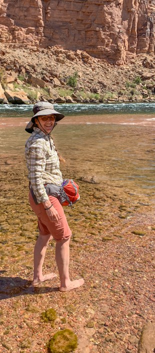 Karin wading in the Colorado River