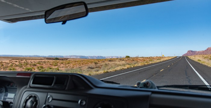 Starting RV adventure - view through windshield of Vermilion Cliffs