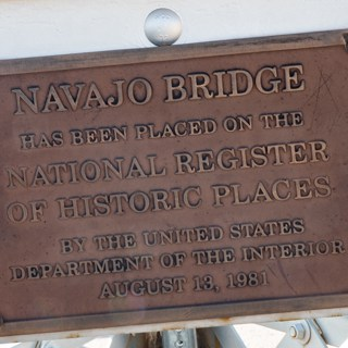 Navajo Bridge dedication sign