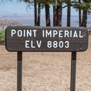 "Elevation sign at Point Imperial reads ""Elv 8803"""