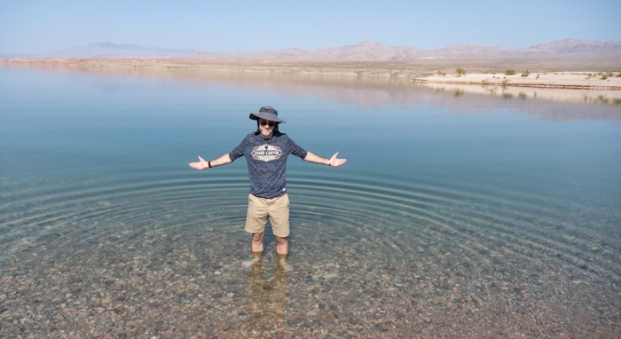 Franz dips his toes in Lake Mead