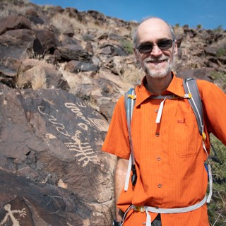 Franz in Petroglyph canyon wrapping up our RV adnventure