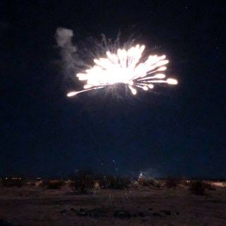 Christmas fireworks viewed from the Rebel