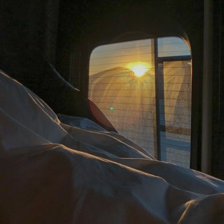 View of sunrise from the Rebel RV