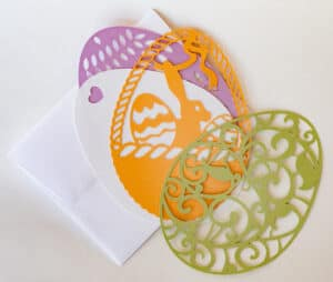 Easter egg note cards double as ornaments